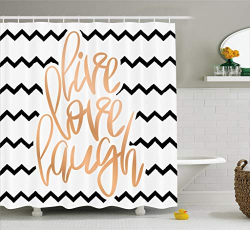 Ambesonne Live Laugh Love Decor Shower Curtain, Motivational Calligraphic Art Zigzags Chevron Stripes, Fabric Bathroom Decor Set Hooks, 70 inches, Black White Peach by Ambesonne
