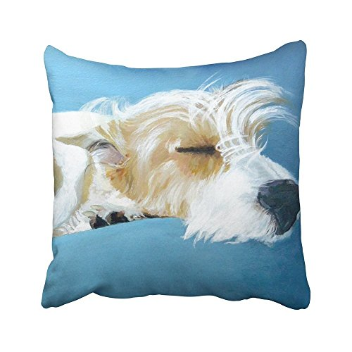 Plbfgfcover Decorative Pillowcases Vintage Sleeping Jack Russell Terrier Dog Art Throw Pillow Covers Cases Home Decor Sofa Cushion Cover (18X18In)