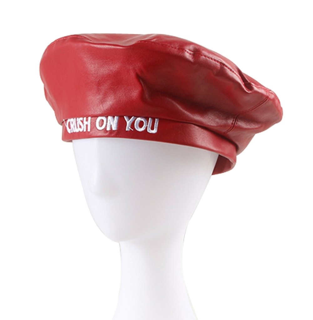 Clecibor Faux Leather Beret Crush On You Letter Embroidery Flat Top PU Berets, Red