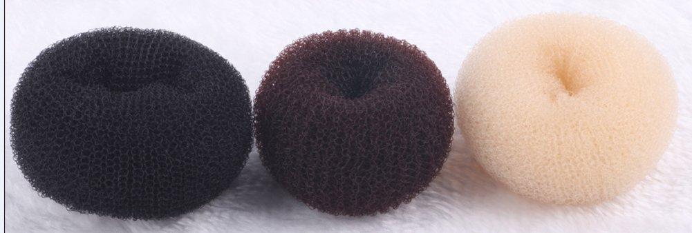Scrox 3 Pcs Femmes Chignon lavés Outils de Cheveux Bande de Cheveux Accessoires Cheveux Pince à Cheveux Donuts Marron