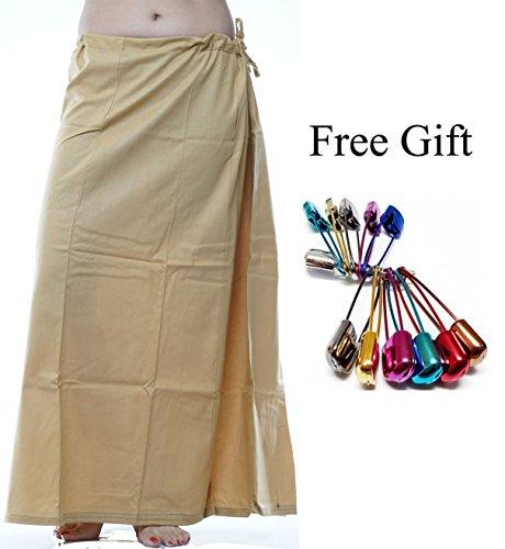 Odishabazaar Women Saree Petticoat Cotton Underskirt Lining For Sari + Free Sari Pin (Gold) by Odishabazaar (Image #1)