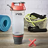 Fit & Fresh Jaxx 28oz Shaker Bottle with Collapsible Bottom Compartment, Perfect for Protein Powders and Supplements (Coral & Gray)