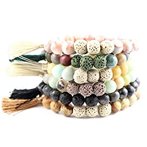 Trend Builder Inc | New Natural Lava Rock Stone Essential Oil Diffuser Tassel Bracelets for Aromatherapy | FIRST AID rescue aroma bracelet kit | Distance Friendship Mala Tibetan String Prayer Beads | 20 OPTIONS | Gift Box Included | For Man Women Couples