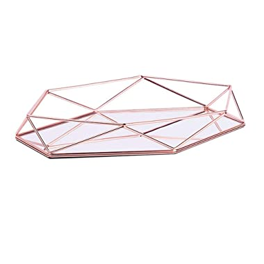 OurHommie Metal Mirrored Ornate Decorative Tray Rose-Gold Luxury Three-Dimensional Storage Tray Hexagonal Desktop Nordic Simple Style Cosmetic Jewelry Box Organizer