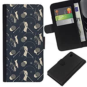 All Phone Most Case / Oferta Especial Cáscara Funda de cuero Monedero Cubierta de proteccion Caso / Wallet Case for Sony Xperia Z1 L39 // Vintage Wallpaper Pattern Grey Mushrooms