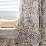 Anady Top Grey Leaf Yellow Birds Curtains 2 Panels Gray Living Room Curtains Grommet 42″ Wide 63″ Long(2018 New) For Sale