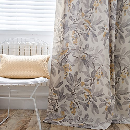 Anady Top Grey Leaf Yellow Birds Curtains 2 Panels Gray Living Room Curtains Grommet 42
