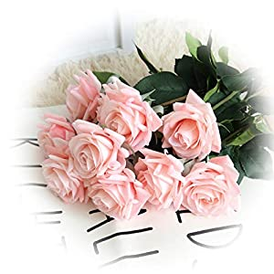 cn-Knight Artificial Flower 12pcs 17'' Artificial Rose Blossom with Leaves Gel Coated Silk Flower for Wedding Bridal Bouquet Bridesmaid Home Décor Office Baby Shower Centerpiece,Light Pink 34