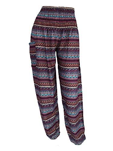 [HAREM TROUSERS - Aladdin Hippie Pants Yoga Designs For Women & Ladies (Striped Blue)] (Striped Leggings Costumes)