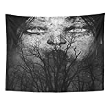 TOMPOP Tapestry Halloween 3D of Close Up Scary Ghost Woman Horror Mixed Media Movie Anger Home Decor Wall Hanging for Living Room Bedroom Dorm 60x80 Inches