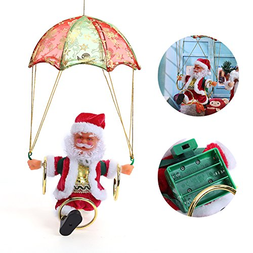 Week Electric Christmas Santa Claus Toys Christmas Hanging Rotation Parachute Turn Acrobatics Santa Claus Animated Plush Musical Toy (Parachute Ornament Santa)
