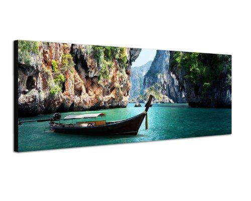 Panoramabild auf Leinwand und Keilrahmen 120x40cm Thailand Steg Meer Boot Felsen