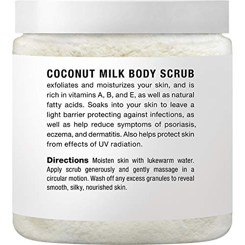 Majestic Pure Coconut Milk Body Scrub, Anti Cellulite & Exfoliator, Natural Skin Care Formula Helps with Stretch Marks…
