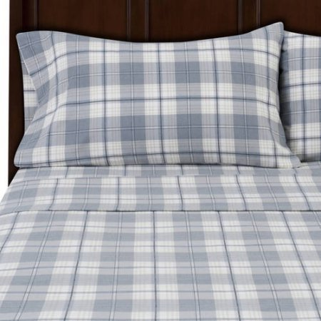 Mainstays Flannel Sheet Set Queen, Gray Plaid