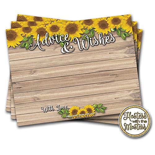 Oh Boy Love It Sunflower Advice Cards 50 Pack   Advice and Wishes, Rustic Wood   Bridal Shower, Wedding Shower Any Occasion
