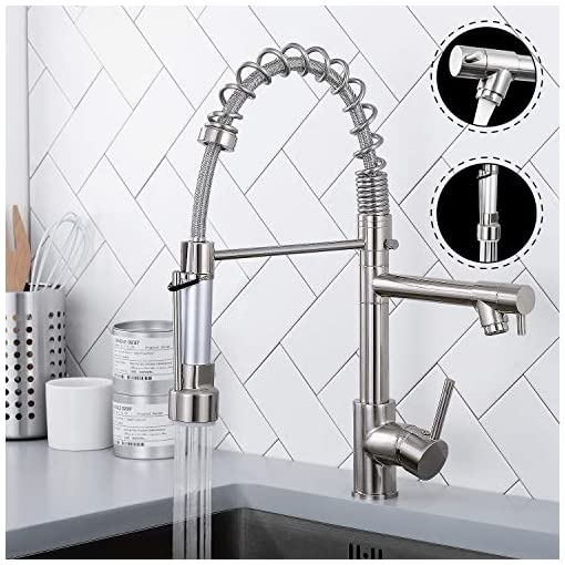 Farmhouse Kitchen Qomolangma Contemporary Spring Kitchen Sink Faucet with Pull Down Sprayer, High Arch Commercial Stainless Steel Single… farmhouse sink faucets