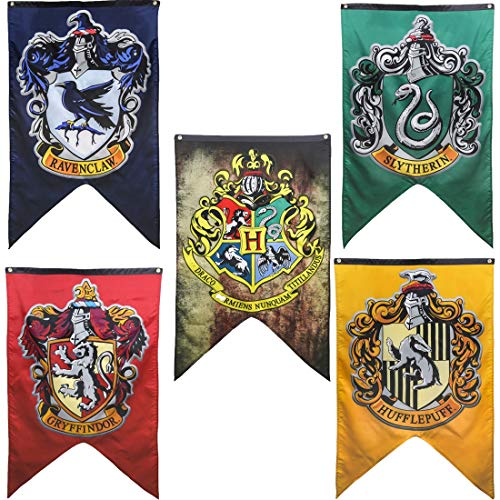 5 Pc. HP Hogwarts House Banners Large Size Complete Set Collection - Hogwarts Gryffindor Slytherin Ravenclaw Hufflepuff (Color Edition) | 29'' x 49''| Premium Thick Double Sided Print