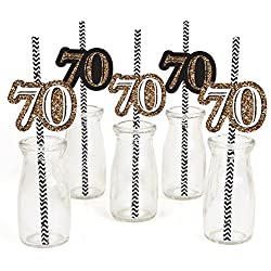 Big Dot of Happiness Adult 70th Birthday - Gold - Paper Straw Decor - Birthday Party Striped Decorative Straws - Set of 24