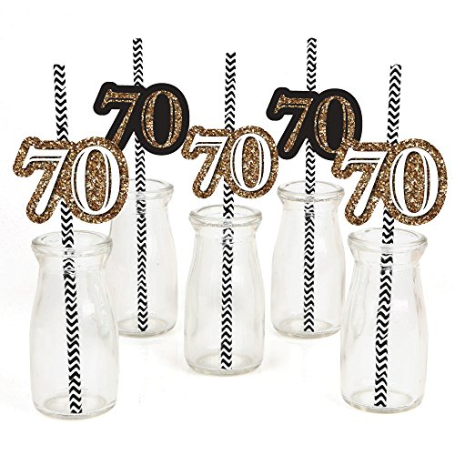 (Adult 70th Birthday - Gold - Paper Straw Decor - Birthday Party Striped Decorative Straws - Set of)