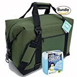 Polar Bear Coolers Nylon Series Soft Cooler Tote Size 24 Pack Green & Fit & Fresh Cool Coolers Slim Ice 4-Pack (Bundle)