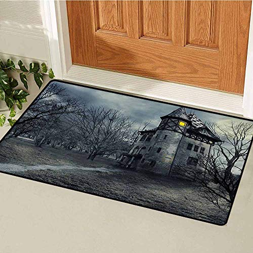 Halloween Universal Door mat Halloween Design with Gothic Haunted House Dark Sky and Leafless Trees Spooky Theme Door mat Floor Decoration W15.7 x L23.6 Inch Teal -