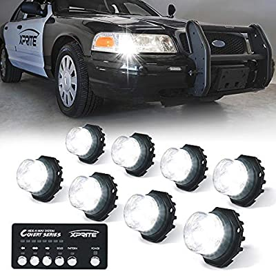 Xprite 8 Series LED Hideaway Strobe Lights Kit 20 Flash Patterns Hazard Warning Light for Trucks, Police Cars, Emergency Vehicles: Automotive