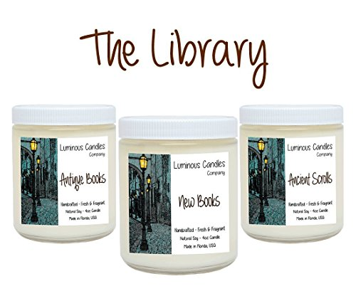 Scented Candles The Library Set - Includes Antique Books, New Books and Ancient Scrolls – 3 x 4 ounce Natural Soy Wax - Literary Gifts For Book Nerds