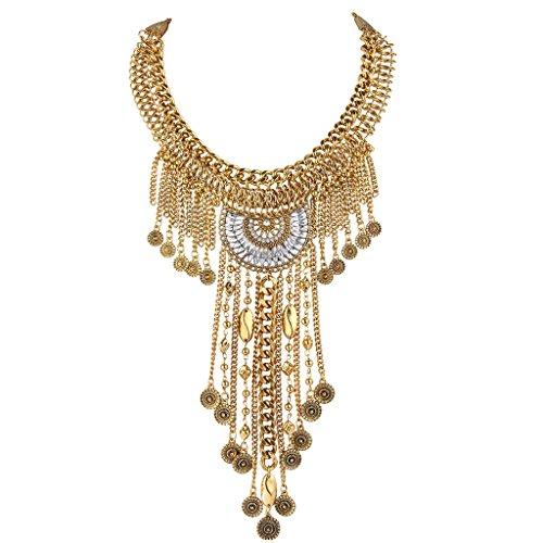 (BriLove Women's Punk Acrylic Stones Multi Layers Dangle Tassel Chain Bib Collar Tibetan Necklace Gold-Tone)