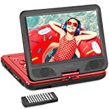 DR. J 12.5' HD DVD Player 10.5' Internal Swivel Screen with 5 Hours Rechargeable Battery, Region-Free Video Player AV Cable Sync TV with Car Charger, Compatible SD, 2.0 USB, Remote - Red