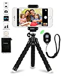 Photo : iPhone Tripod Phone Tripod, UBRU Tripod for iPhone Stand with Bluetooth Remote Camera Shutter Remote Shutter Release and Universal Clip for Android iOS Smartphones Camera Sports Camera Gopro etc.