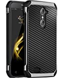 zte imperial 2 cases - ZTE Grand X Max 2 Case, ZTE Imperial Max Case, BENTOBEN Shockproof 2 in 1 Hybrid Hard PC Carbon Fiber Texture Chrome Protective Phone Case Cover for ZTE Grand X Max 2 / Kirk Z988 / Duo LTE Z963U,Black