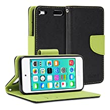 iPod touch 6 Case, GMYLE Wallet Case Classic for iPod touch 6th generation - Black & Wasabi Green PU Leather Slim Stand Case Cover