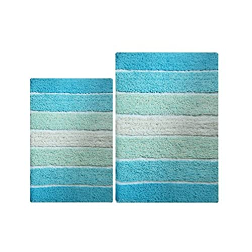 Incroyable Chardin Home   100% Pure Cotton   2 Piece Cordural Stripe Bath Rug Set,  (24u0027u0027x40u0027u0027 U0026 21u0027u0027x34u0027u0027) Aqua Turquoise With Latex Spray Non Skid Backing