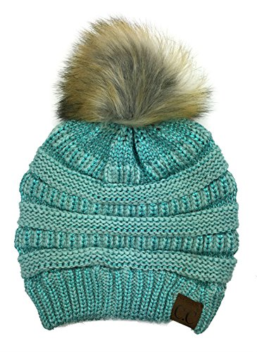 Plum Feathers Soft Stretch Cable Knit Ribbed Faux Fur Pom Pom Beanie Hat (Mint Metallic) (Cc Feather)