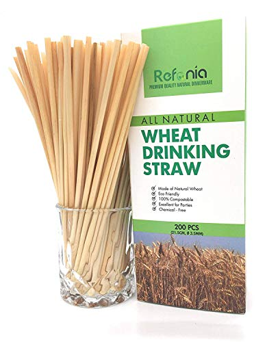 (Refonia All Natural Compostable Wheat Drinking Straws - 8.5 inch - 200 count Bulk Heavy Duty for Business - Biodegradable, BPA Free, Disposable - Alternative to Plastic, Paper, Silicone, Bamboo Straws)