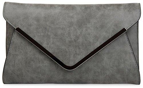 styleBREAKER - Cartera de mano de Material Sintético para mujer Gris - gris oscuro