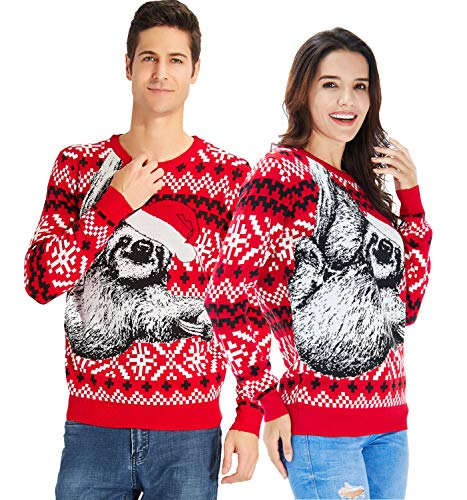 RAISEVERN Unisex's Funny Sloth Christmas Sweater Snowflake Santa Hat Knitted Crewneck Ugly Xmas Sweater Funny Pullover]()