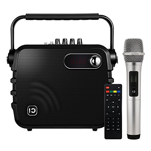 Voice Amplifier SHIDU K3 30 Watts Portable PA System with UHF Hand-held Microphone Wireless Bluetooth Speaker Built-in Rechargeable Battery & Remote Control for Home and Outdoors, Black by HaoWorks
