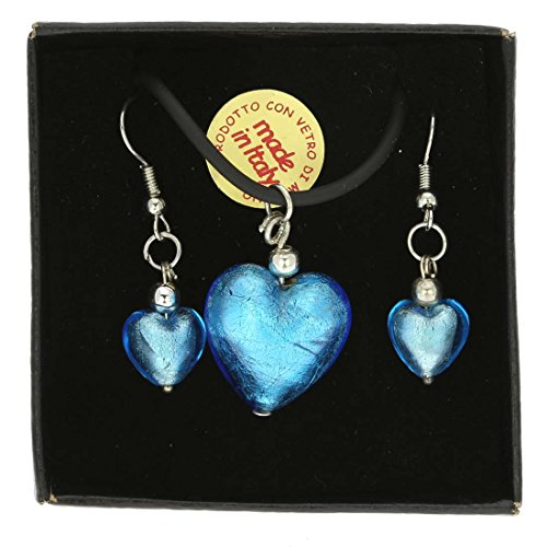 (GlassOfVenice Murano Glass Venetian Reflections Puffed Heart Necklace and Earrings S)