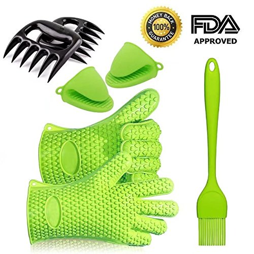 Silicone Barbecue Gloves, Pulled Pork Claws Set, Mini Oven Mitts and Basting Brush for Cooking, Grilling, Baking Heat Resistant to 425 °F- One Size fits All (Green)