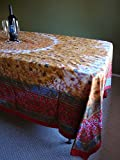 Handmade 100% Cotton Floral Tie Dye Tapestry Throw Tablecloth Spread Picnic Beach Blanket Dorm Decor Furniture Cover Reds Twin Twin XL 70x106