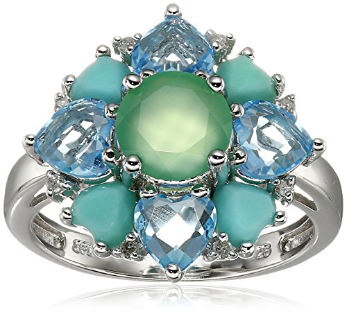 Sterling Silver Multi-Gemstones and Diamond Accent Cluster Flower Ring (0.06 cttw, I-J Color, I2-I3 Clarity), Size 6