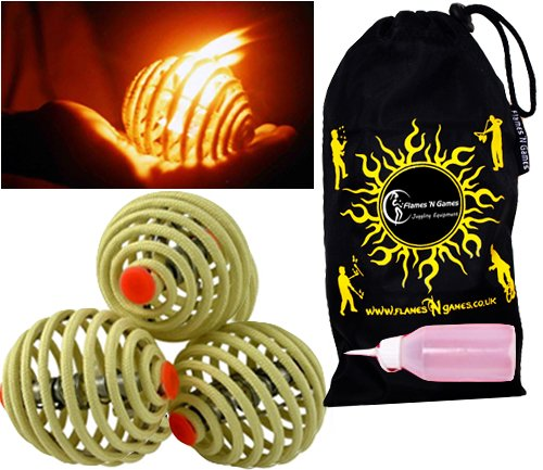 Fyrefli fire juggling balls (80mm) Pro Fire Juggling Ball Set of 3 and fuel bottle + Travel Bag.