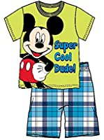 Disney Mickey Mouse Infant Boys T Shirt Top and Plaid Short- Yellow & Blue
