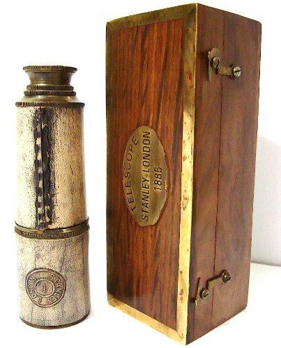 Ottone antico Spyglass replica in scatola di legno da 35, 6cm in ottone–lungo Spy vetro pirata telescopio in scatola di legno antico replica vintage by Casanova Nauticals