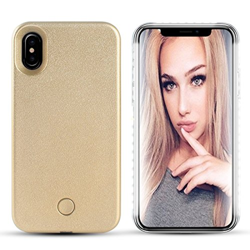 iPhone X Led Case - LONHEO iPhone X Illuminated Cell Phone Case Great for a bright Selfie and Facetime Light Up Case Cover for iPhone 10 with a Free Phone Holder (Igo Battery Charger)