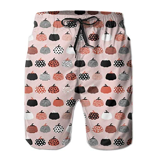 Fall Fruit Geometric Pumpkin Design Scandinavian Style Halloween Print Pink Orange_306Men's Summer Beach Shorts,2XL -