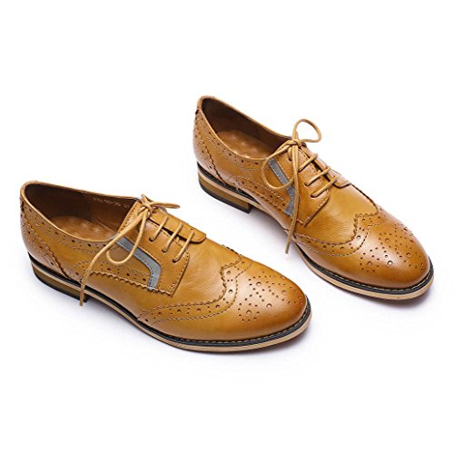 Pictures of Mona Flying Women's Leather Perforated Lace-up Oxfords Shoes for Women Wingtip Multicolor Brougue Shoes 2