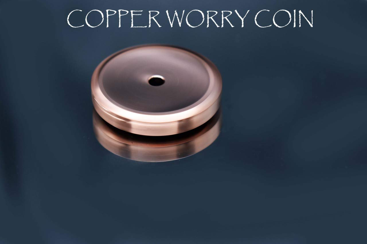 MetonBoss Spinning Worry Coins - Copper, Titanium, Brass & Stainless Steel   Gift Metal Worrycoin Desktop Toy   EDC Every Day Carry Toy (Polished Brass) by MetonBoss (Image #2)