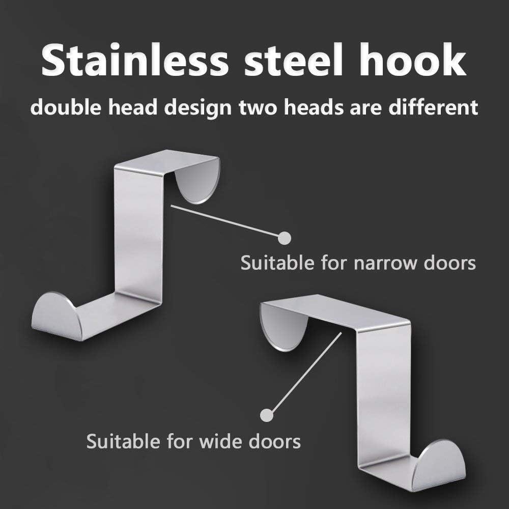 Silver-3x4.5x6cm Hamosky Over Door Hook Coat Hooks Rack Heavy Duty Reversible Brushed Stainless Steel 12 Pcs